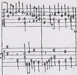 Fragment from a page of the Fitzwilliam Virginal Book with works by John Bull and William Byrd