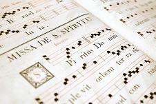 Reproduction of Gregorian Chant notation using a 4-line stave