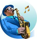 Cartoon Saxophone Player with musical notes