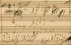 Fragment from a page of Beethoven's scored out and corrected hand-written manuscript for his 6th Symphony